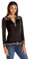 Lucky Brand Women's Embroidered Yoke Top