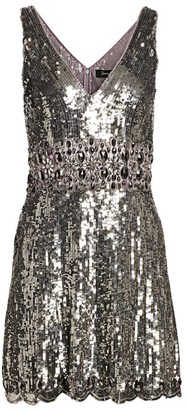 Jenny Packham Sleeveless V-Neck Sequin Fit-&-Flare Dress