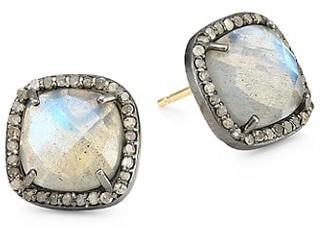 Nina Gilin 14K Black Rhodium Silver, Champagne Diamond & Labradorite Stud Earrings