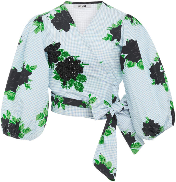 Ganni Sequin Floral Front Tie Cotton Crop Top