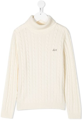 Sun 68 Kids Cable-Knit Turtleneck Jumper