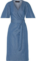 Vanessa Seward Bali Wrap-Effect Washed-Denim Dress