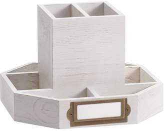 Pottery Barn Teen Classic Wooden Desk Accessories, Rotating Caddy, White Wash