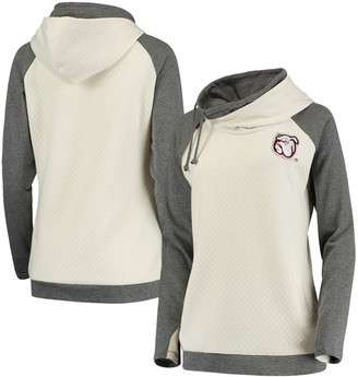 Unbranded Women's Cream/Charcoal Mississippi State Bulldogs Chill Layered Quilted Jacquard Pullover Hoodie