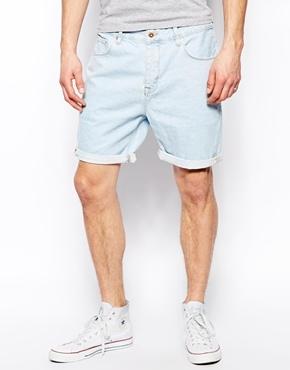 Asos Denim Shorts In Slim Fit - Blue
