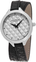 Stuhrling Original Sthrling Original Womens Quilt-Look Dial Black Leather Wrap Watch 7456.01