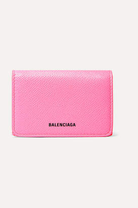 Balenciaga Ville Neon Printed Leather Wallet - Pink