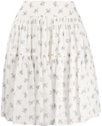 Chloé Floral Print Silk Skirt