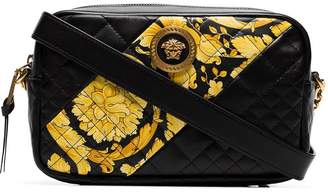 Versace black quilted leather baroque cross body bag