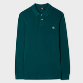 Paul Smith Men's Teal Embroidered PS Logo Long-Sleeve Polo Shirt