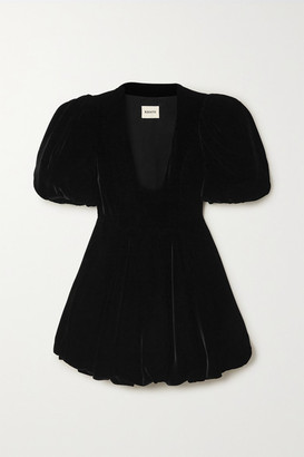 KHAITE Leona Velvet Mini Dress - Black