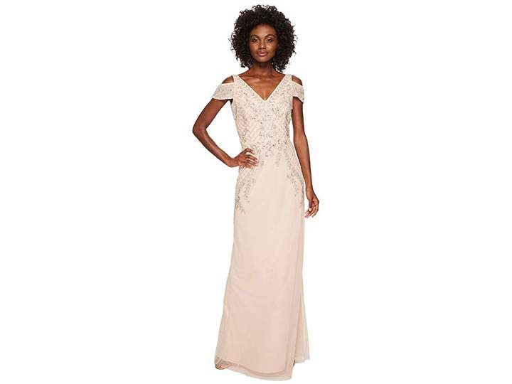 Adrianna Papell V-Neck Long Beaded Mob Gown with Cap Sleeves