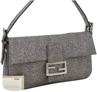 Fendi Baguette Silver Cloth Handbags