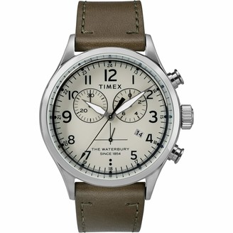Timex Men's Waterbury Traditional Chronograph 42mm Stainless Steel Analog Quartz Leather Strap
