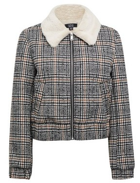 Dorothy Perkins Womens Lola Skye Faux Fur Lined Check Jacket