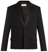Saint Laurent Raw-edge Grain De Poudre Wool Tuxedo Jacket