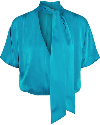 Alice + Olivia Livvy Tie-neck Wrap-effect Washed Silk-blend Blouse