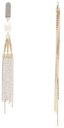 Givenchy Cascade Mismatched Crystal And Pearl Earrings - Womens - Crystal