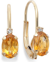 10k Gold Earrings, Citrine (3/4 ct. t.w.) and Diamond Accent Leverback Earrings