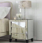 Tantra Patricia Mirrored Bedside Table 3 Drawers
