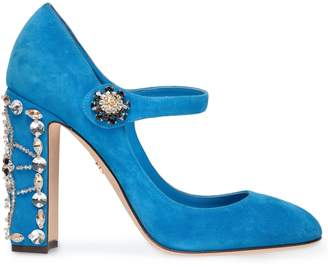 Dolce & Gabbana Vally Crystal-embellished Suede Mary Jane Pumps