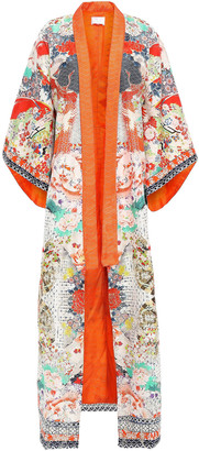 Camilla Crystal-embellished Embroidered Printed Silk-jacquard Kimono