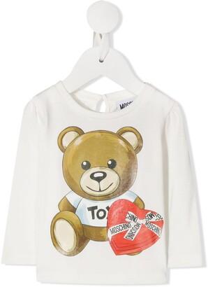 MOSCHINO BAMBINO teddy bear logo print longsleeved T-shirt