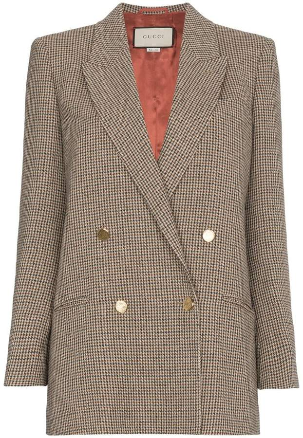 Gucci Houndstooth linen jacket with back patch