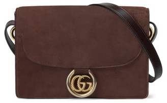 Gucci Small GG Ring Suede Shoulder Bag