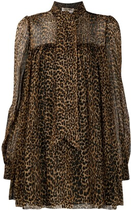 Saint Laurent Leopard-Print Flared Dress