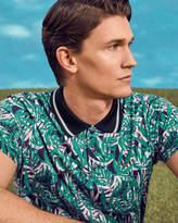 Ted Baker Leaf Print Polo Shirt Green