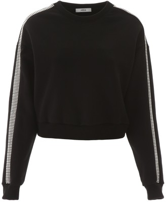 Area Crystal Embellished Cropped Sweatshirt