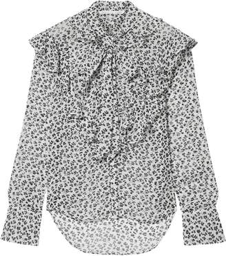Veronica Beard Finley Pussy-bow Floral-print Silk-georgette Blouse