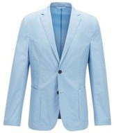 BOSS Slim-fit jacket in pure cotton with patch pockets