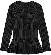 Alexander McQueen Pleated Metallic Silk-blend Peplum Cardigan - Black