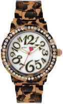 Betsey Johnson Women's Brown Leopard-Printed Bracelet Watch 42mm BJ00482-09