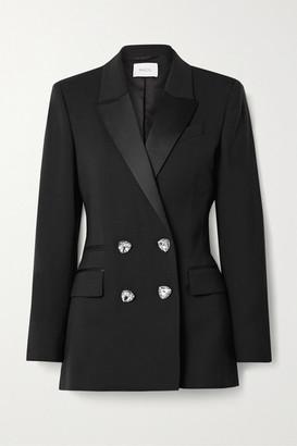 Racil Felix Crystal-embellished Double-breasted Satin-trimmed Wool Blazer - Black