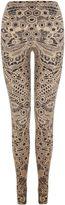 Alexander McQueen Black/Flesh Honeycomb Lace Print Leggings