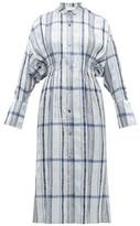 Mame Kurogouchi - Floral Striped Jacquard Midi Dress - Womens - Blue Multi