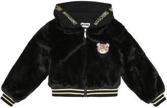MOSCHINO BAMBINO Faux fur bomber jacket
