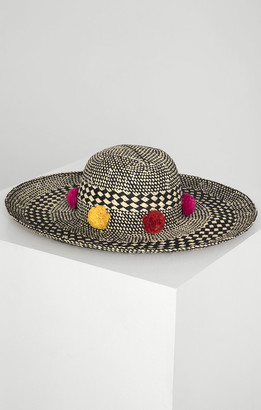 BCBGMAXAZRIA Pom Party Woven Hat