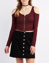 Charlotte Russe Ribbed Cold Shoulder Zip-Up Top