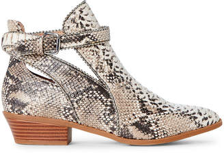 BCBGeneration Natural Winona Snakeskin-Effect Ankle Booties