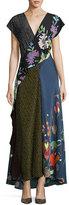 Diane von Furstenberg Draped Mixed-Print Floral & Dot Silk Maxi Dress, Multicolor