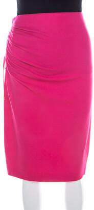 Escada Blossom Pink Knit Gathered Detail Relas Pencil Skirt M