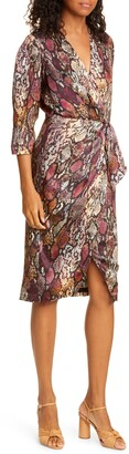Rebecca Taylor Snakeskin Print Wrap Dress