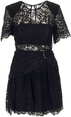Self-Portrait Cord Lace Short Sleeve Mini Dress
