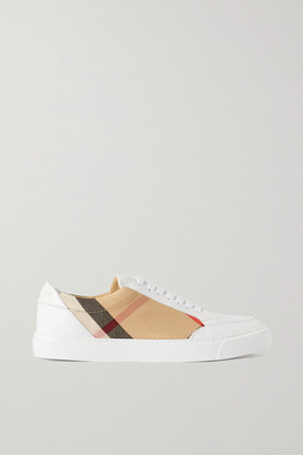 Burberry Checked Canvas And Leather Sneakers - Beige