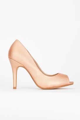 Wallis Rose Gold Peep Toe Court Shoe