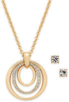 Charter Club Gold-Tone Pavandeacute; Pendant Necklace and Crystal Stud Earrings Set, Only at Macy's